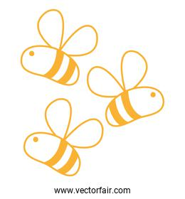 neon line cute bees insect animal flying