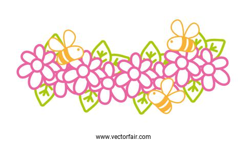 neon line flowers with petals and bees insects flying