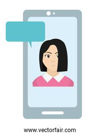 elegant woman inside smartphone with chat bubble