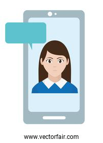 avatar elegant woman inside smartphone with chat bubble