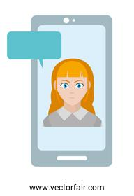 user woman inside smartphone with chat bubble