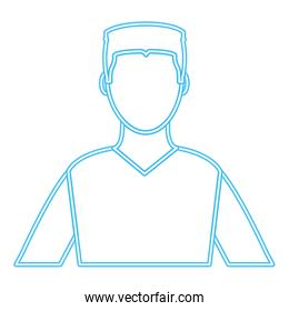 neon line avatar man with hairstyle design and shirt