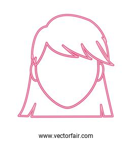 neon line avatar woman faceless with hairstyle design