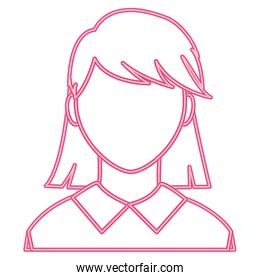neon line avatar woman with faceless and elegant blouse