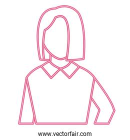 neon line user woman with blouse and hairstyle design