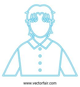 neon line avatar man with shirt and hairstyle design