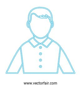 neon line profile elegant man with shirt and hairstyle