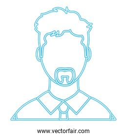 neon line user man with elegant shirt and hair