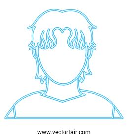neon line user man with casual shirt and hair