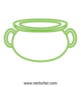 neon line pot cauldron to traditional object to cooking