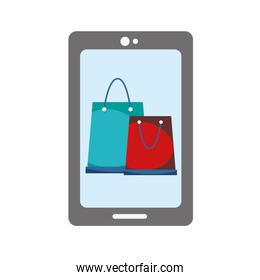 smartphone technology with online shopping bag