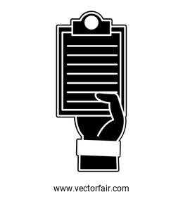 silhouette hand man with check list document