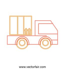 neon line delivery truck service with business package