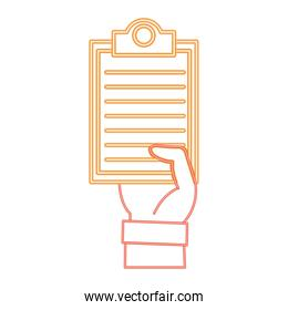 neon line hand man with check list document