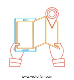 neon line man hands with smartphone with map and location symbol