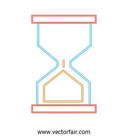 neon line hourglass classic object to control the time