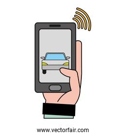 man hand with smartphone and wifi connection