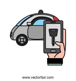 police car and hand with smartphone digital key