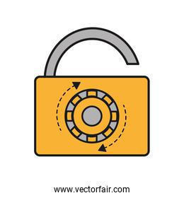 open padlock object with password protection