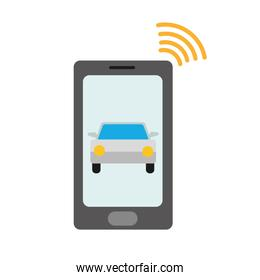 color shadow smartphone with car transport and used wifi