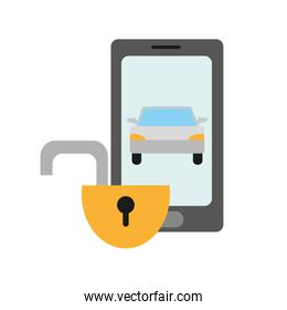 color shadow smartphone with car and open padlock security