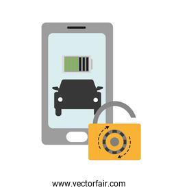 color shadow smartphone battery with car and padlock security