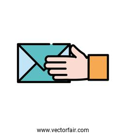 line color man hand with letter text message