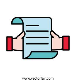 line color man hands with business document information
