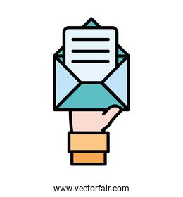 line color man hand with e-mail message information