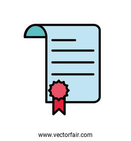 line color paper business document with medal sign