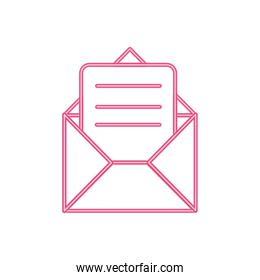 neon line e-mail letter message with document information