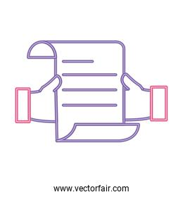 neon line man hands with business document information
