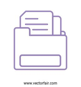 neon line file folder with document information paper