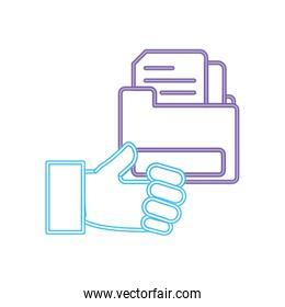 neon line man hand with documents inside file folder