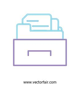neon line cabinet file folder with document archive