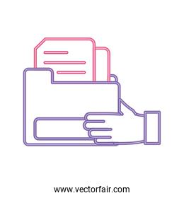 neon line man hand with file folder document