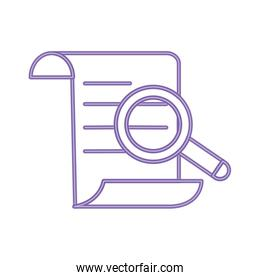 neon line document information paper with magnifying glass