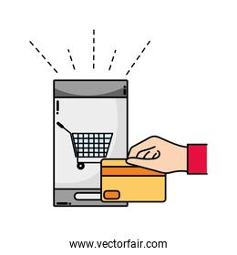 smartphone online buy and hand with credit card