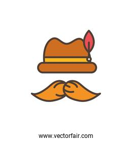 mustache and hat oktoberfest icon line filled