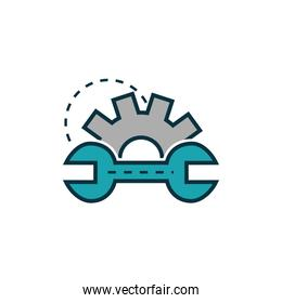 gear and wrench work tools engineering icon