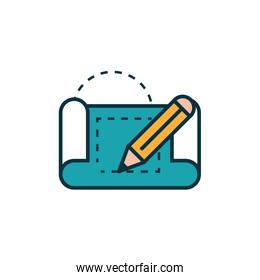 blueprint and pencil work tools engineering icon