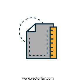 blueprint with ruler work tools engineering icon