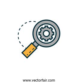 gear magnifier work tools engineering icon
