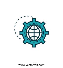 gear with world work tools engineering icon