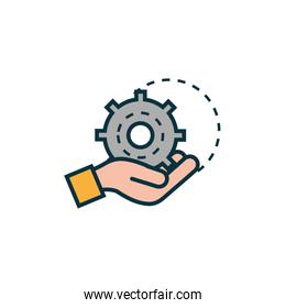 hand with gear work tools engineering icon
