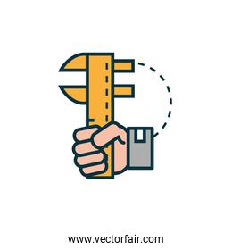 hand with metal caliper work tools engineering icon