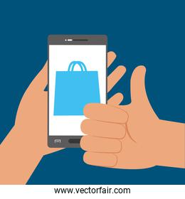 hand with smartphone technology to shopping online
