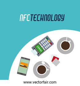 dataphone with receipt and smartphone technology in the table with coffee cup