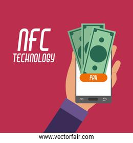 smartphone in the hand with nfc bills to payment