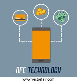 smartphone with credi card option to nfc payment